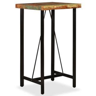 vidaXL Baro stalas, masyvi perdirbta mediena, 60x60x107cm