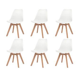 vidaXL Valgomojo kėdė, 6vnt., dirbtinė oda, masyvi mediena, balta