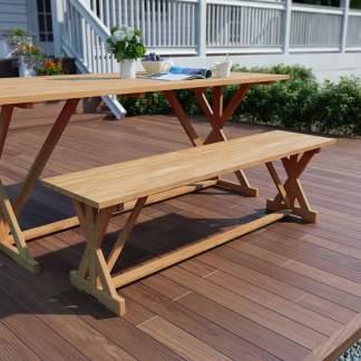 vidaXL Sodo suoliukas, 150 cm, tikmedžio medienos masyvas