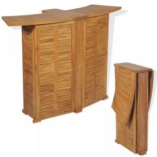 vidaXL Lauko baro stalas, tikmedis, 155x53x105cm