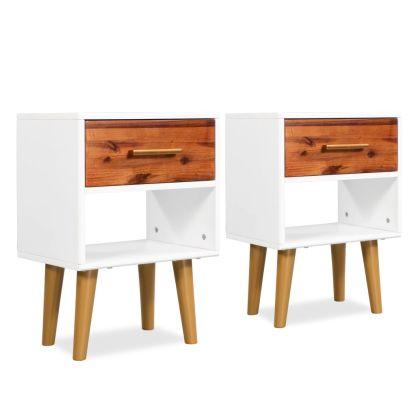vidaXL Naktiniai staliukai, 2vnt., tvirta akacijos med., 40x30x45cm