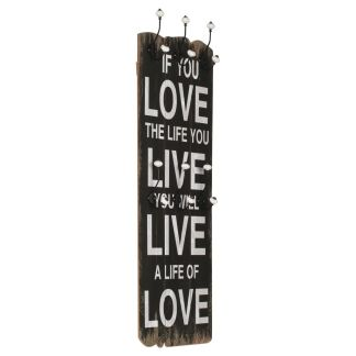 vidaXL Paltų kabykla LOVE LIVE, mont. prie sienos, 6 kabl., 120x40cm