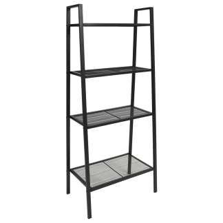 vidaXL Knygų lentyna-kopėčios, 4 pakopos, metalas, juoda