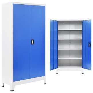vidaXL Biuro spintelė, metalas, 90x40x180cm, pilka ir mėlyna