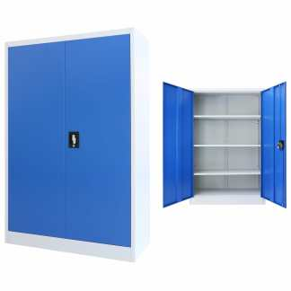vidaXL Biuro spintelė, metalas, 90x40x140cm, pilka ir mėlyna