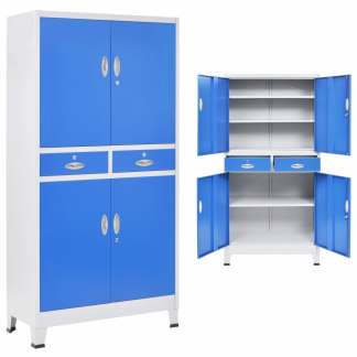 vidaXL Biuro spintelė su 4 dur., metalas, 90x40x180cm, pilka ir mėlyna
