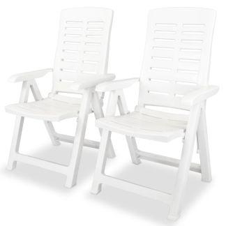 vidaXL Atlošiamos sodo kėdės, 2 vnt., plastikas, balta spalva