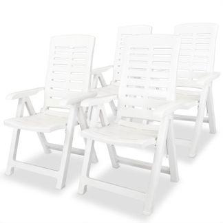 vidaXL Atlošiamos sodo kėdės, 4 vnt., plastikas, balta sp.