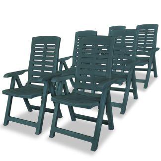 vidaXL Atlošiamos sodo kėdės, 6 vnt., plastikas, žalia sp.