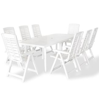 vidaXL Lauko valgomojo baldų komplektas, 9d., baltos sp., plastikas