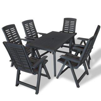 vidaXL Lauko valg. baldų komplektas, 7d., antracito sp., plastikas