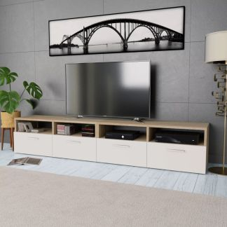 vidaXL 2 TV spintelės, med. drož. plokštė, 95x35x36 cm, ąž. ir balta