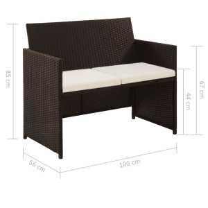 Dvivietė sodo sofa su pagalvėlėmis, rudos spalvos, poliratanas