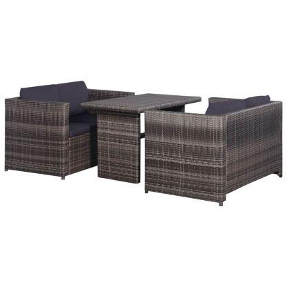 vidaXL Bistro baldų komplektas su pag., 3d., pilkas, ratanas