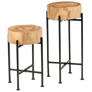 vidaXL Šoninių staliukų kompl., 2d., akacijos medienos masyvas