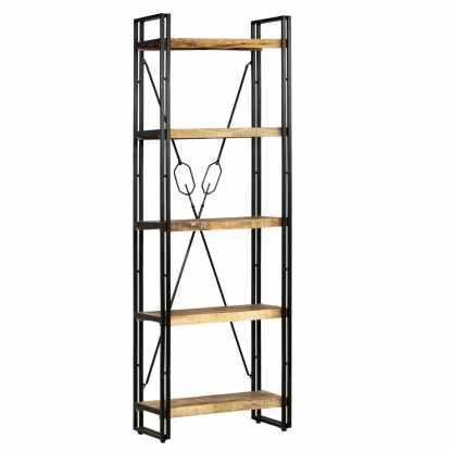 vidaXL Knygų spinta su 5 lent., mango mediena ir plienas, 60x30x180cm