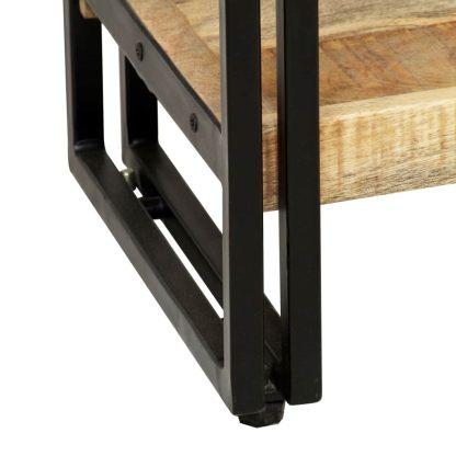 Knygų spinta su 5 lent., mango mediena ir plienas, 60x30x180cm