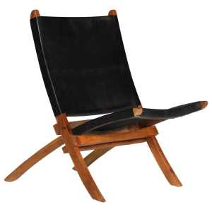 vidaXL Poilsio kėdė, tikra oda, 59x72x79cm, juoda