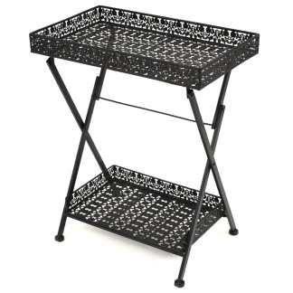 vidaXL Sul. arbatos staliukas, juodas, 58x35x72cm, met., vint. stil.