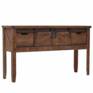 vidaXL Konsolinis staliukas, eglės med. masyvas, 131×35,5x75cm, rudas