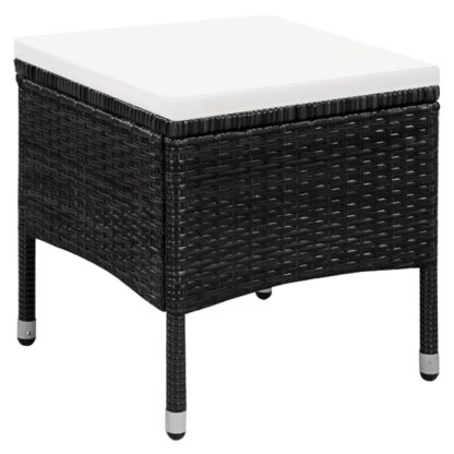 Lauko kėdė ir taburetė su pagalvėlėmis, poliratanas, juoda