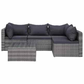 vidaXL Sodo sofos kompl. su pag. ir pagalvėmis, 5d., pilk. sp., polir.