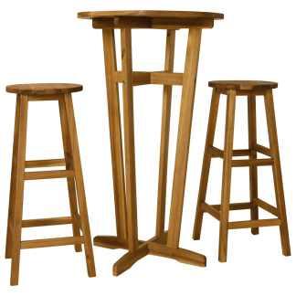 vidaXL Baro baldų komplektas, 3 d., akacijos medienos masyvas