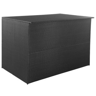 vidaXL Sodo daiktadėžė, juoda, 150x100x100cm, poliratanas