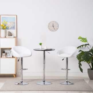 vidaXL Baro kėdės, 2 vnt., baltos, dirbtinė oda