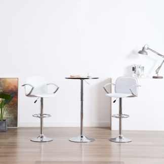 vidaXL Baro kėdės su porankiais, 2vnt., baltos, dirbtinė oda