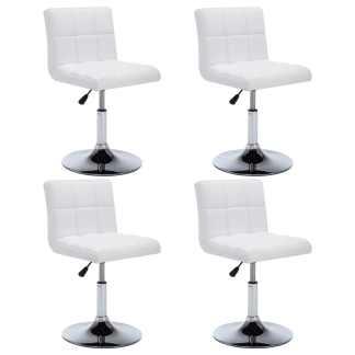 vidaXL Besisuk. valgom. kėdės, 4vnt., dirbt. oda, 50x43x85cm, baltos