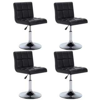 vidaXL Besisuk. valgom. kėdės, 4vnt., dirbt. oda, 50x43x85cm, juodos