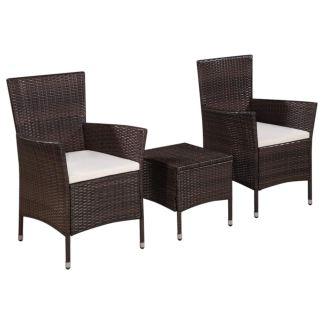 vidaXL Bistro baldų komplektas, 3 dalių, rudas, poliratanas