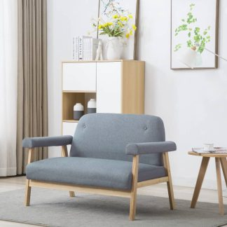 vidaXL Dvivietė sofa, audinys, šviesiai pilkos spalvos
