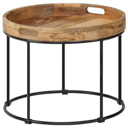 vidaXL Kavos staliukas, 50x40cm, mango medienos masyvas ir plienas