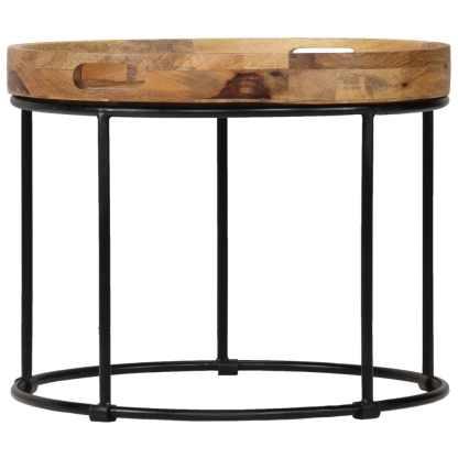 Kavos staliukas, 50x40cm, mango medienos masyvas ir plienas