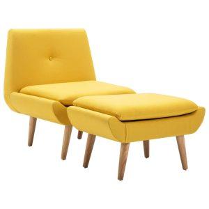 Fotelis su kėdute kojoms, audinio apmušalas, geltonas