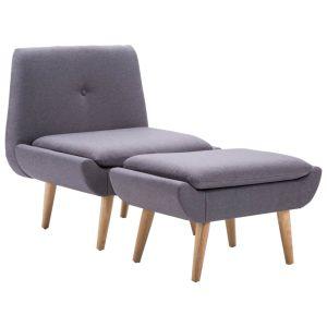 Fotelis su kėdute kojoms, žalios sp., audinio apmušalas