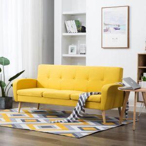 vidaXL Trivietė sofa, audinys, geltona