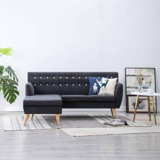 vidaXL L-formos sofa, aud. apmušal., 171,5x138x81,5cm, tamsiai pilka