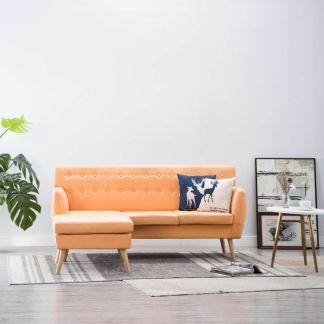 vidaXL L-formos sofa, aud. apmušal., 171,5x138x81,5cm, oranžinė