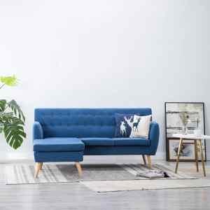 vidaXL L-formos sofa, aud. apmušal., 171,5x138x81,5cm, mėlyna