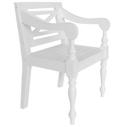 Batavia kėdės, 2 vnt., raudonmedžio masyvas, baltos spalvos