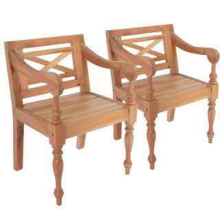 vidaXL Batavia kėdės, 2 vnt., raudonmedžio masyvas, šviesiai rudos sp.