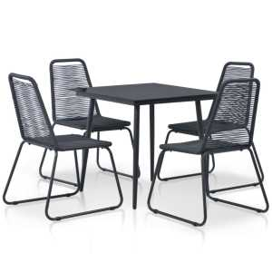 vidaXL 5d. Lauko valgomojo baldų komplektas, poliratanas, juodas