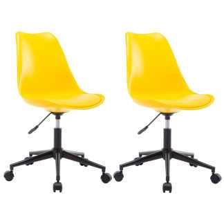vidaXL Besisukančios valgomojo kėdės, 2vnt., geltonos, dirbtinė oda