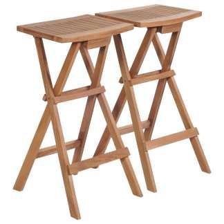 vidaXL Sulankstomos baro kėdės, 2 vnt., tikmedžio medienos masyvas