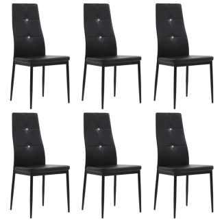 vidaXL Valgomojo kėdės, 6vnt., dirbtinė oda, 43×43,5x96cm, juodos