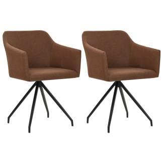 vidaXL Valgomojo kėdės, 2 vnt., rudos, audinys, pasukamos
