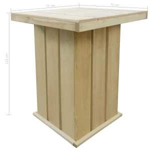 Lauko baro stalas, 75x75x110cm, FSC impregnuota pušies mediena